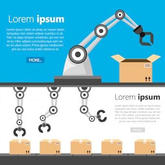 Conjunto de braços robóticos. fabricação de braço robótico. conceito de embalagem. ícone de estilo. ilustração em fundo branco e azul