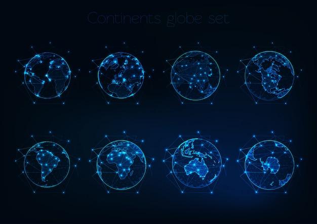 Conjunto de brilhantes globos poligonais baixos mostra o planeta terra com contornos diferentes continentes.