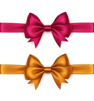 Conjunto de brilhantes laranja brilhante rosa magenta cetim arcos e fitas vista superior fechar isolado no fundo branco