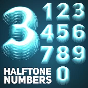 Conjunto de brilhantes números em meio-tom em relevo.