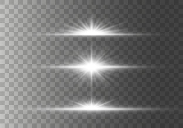 Conjunto de brilhos de luz das estrelas horizontais brilhantes, raios