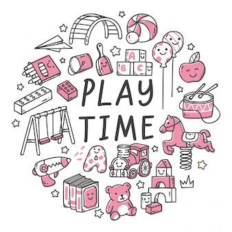 Conjunto de brinquedo de crianças na ilustração de estilo doodle kawaii