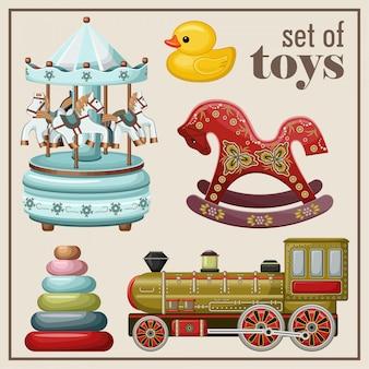 Conjunto de brinquedos antigos.