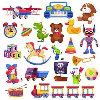 Conjunto de brinquedos de crianças. brinquedo criança criança pré-escolar casa bebê jogo bola trem iate cavalo boneca pato barco avião urso carro pirâmide