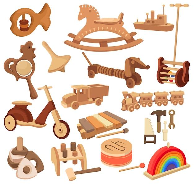 Conjunto de brinquedos de madeira. coleção de brinquedos antigos e dispositivos para crianças.