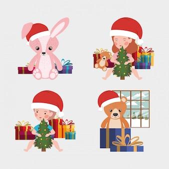 Conjunto de brinquedos de natal e crianças