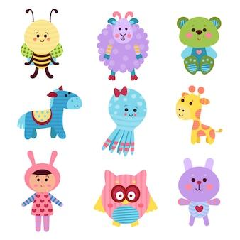 Conjunto de brinquedos e animais de bebê bonito dos desenhos animados de ilustrações coloridas