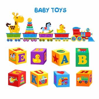 Conjunto de brinquedos infantis de vetor. um conjunto de cubos com imagens coloridas e o alfabeto. o trem carrega os brinquedos, incluindo uma girafa, pato, cavalo, pirâmide.