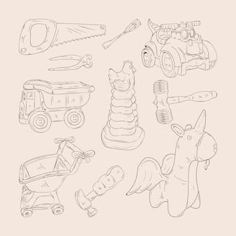 Conjunto de brinquedos infantis desenhados à mão