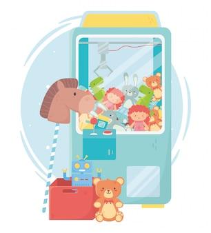 Conjunto de brinquedos para crianças dentro de uma máquina