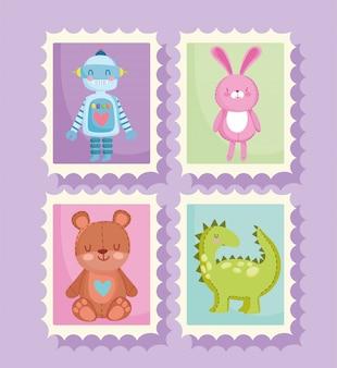Conjunto de brinquedos para crianças em selos