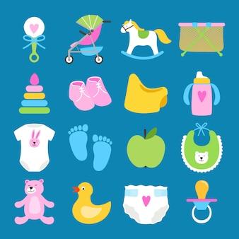 Conjunto de brinquedos, roupas e fraldas