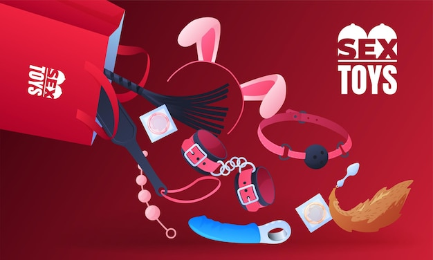 Conjunto de brinquedos sexuais, falo, plug anal, vibrador, algemas, máscara, preservativos.
