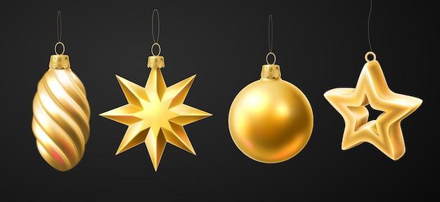 Conjunto de brinquedos suspensos dourados para árvore de natal