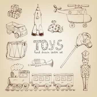Conjunto de brinquedos vintage desenhados à mão: trompete de soldado de tambor de trem