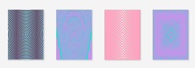 Conjunto de brochura. convite criativo, cartaz, caderno, layout de pasta. roxo e turquesa. defina o folheto como uma capa minimalista da moda. elemento geométrico de linha.