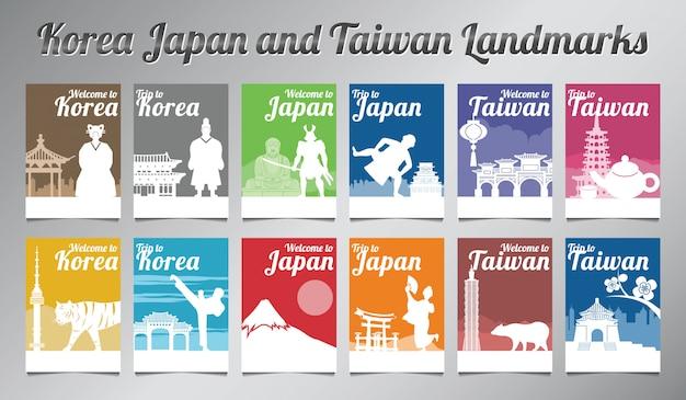 Conjunto de brochura coréia japão e taiwan
