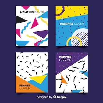 Conjunto de brochura de estilo de memphis