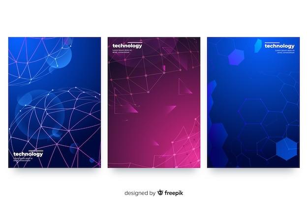 Conjunto de brochura de estilo de tecnologia