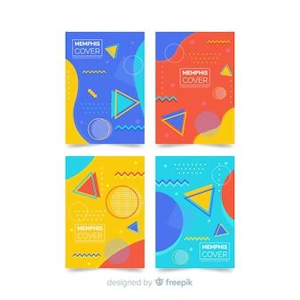 Conjunto de brochura de estilo memphis colorido