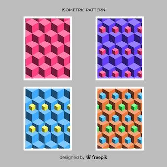 Conjunto de brochura de estilo poligonal isométrica