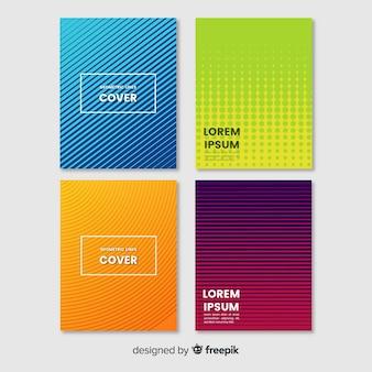 Conjunto de brochura de linhas geométricas coloridas