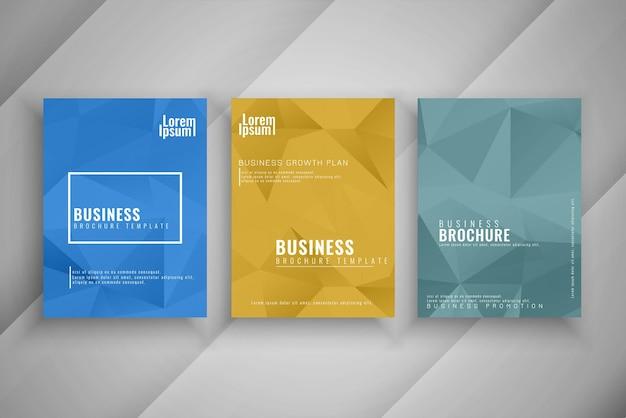 Conjunto de brochura de negócios de estilo polígono abstrato