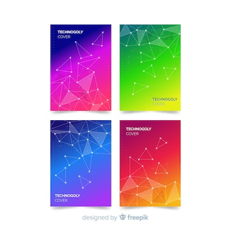 Conjunto de brochura de tecnologia colorida
