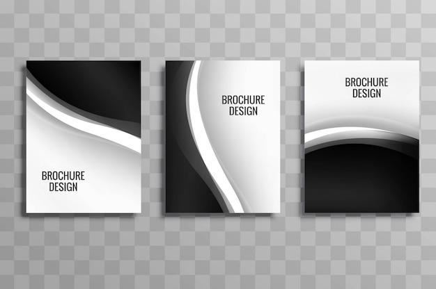 Conjunto de brochura moderna ondulado