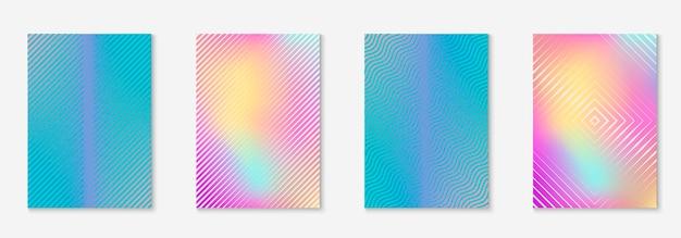 Conjunto de brochura. papel de parede de plástico, relatório anual, apresentação, maquete de certificado. holográfico. defina o folheto como uma capa minimalista da moda. elemento geométrico de linha.
