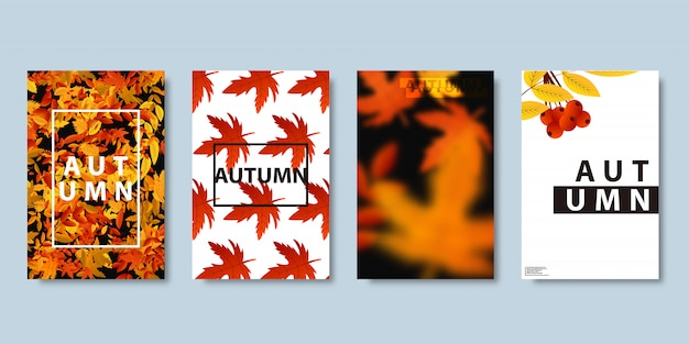 Conjunto de brochura realista de outono para folheto de venda, pôster de revista, decoração e cobertura no fundo brilhante.