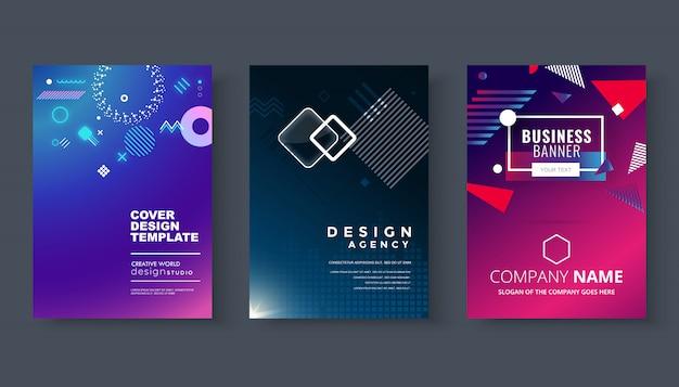 Conjunto de brochura, relatório anual, modelos de design de folheto