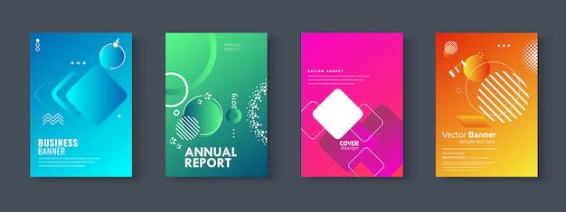 Conjunto de brochura, relatório anual, panfleto