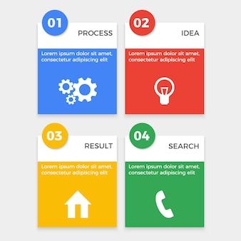 Conjunto de brochuras com processo de engrenagem de ícones, símbolo de lâmpada de ideia