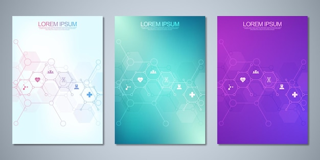 Conjunto de brochuras de modelo com design de moléculas