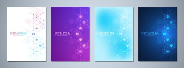 Conjunto de brochuras de modelo ou livro de capa, layout de página, folheto.