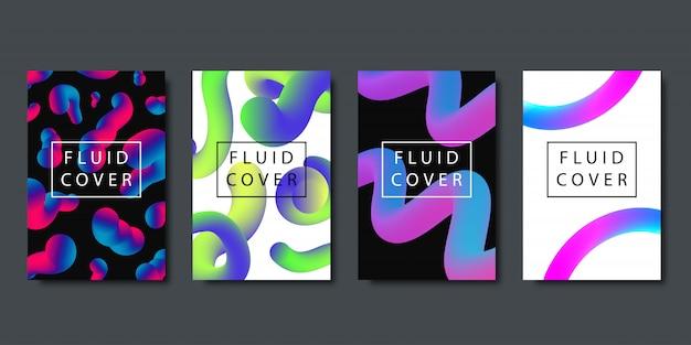 Conjunto de brochuras realistas com formas líquidas fluidas de gradiente geométrico para decoração e cobertura no fundo escuro.