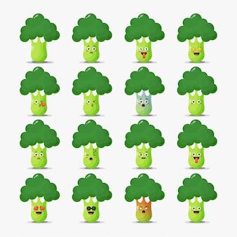 Conjunto de brócolis fofo com emoticons