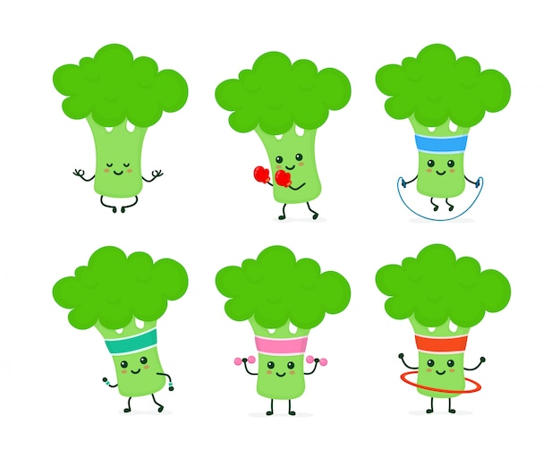 Conjunto de brócolis forte feliz sorridente fofo