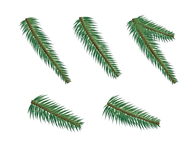Conjunto de brunches de árvore de natal diferente. feliz natal e feliz ano novo. elementos de design