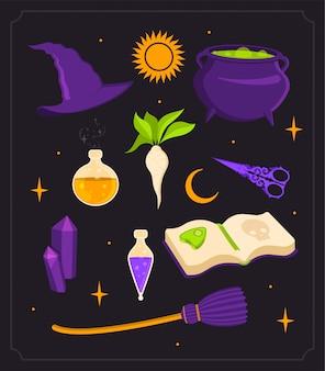 Conjunto de bruxa. caldeirão, poção e cristais