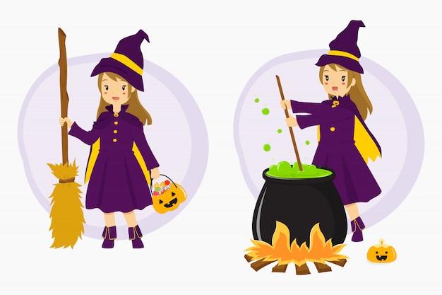 Conjunto de bruxa de halloween e elementos