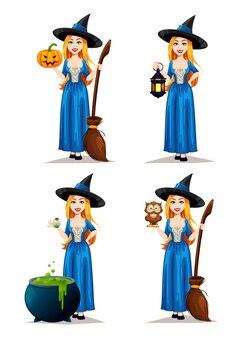Conjunto de bruxa de halloween isolado no branco