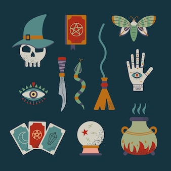 Conjunto de bruxa e magia mística. símbolos de feitiçaria.