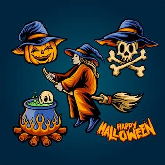 Conjunto de bruxa halloween