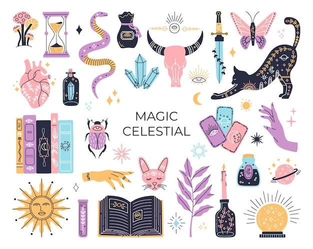 Conjunto de bruxaria, símbolos mágicos místicos, coleção de mistérios desenhada à mão, elementos modernos no estilo boho