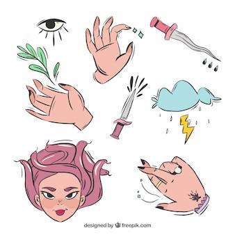 Conjunto de bruxas e elementos de magia desenhados à mão