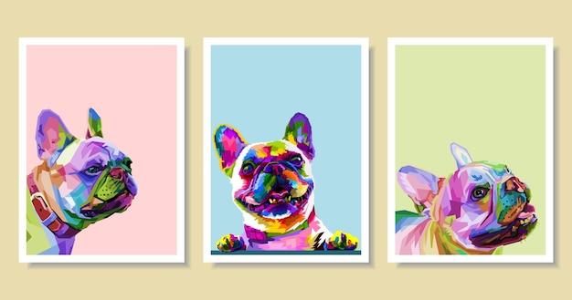 Conjunto de buldogue francês colorido no estilo geométrico pop art.