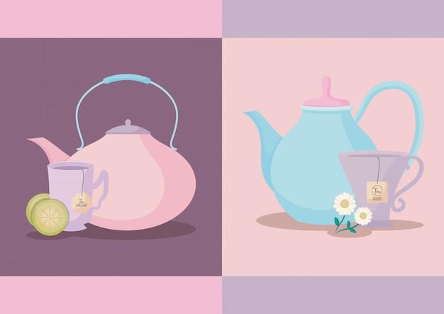 Conjunto de bules com xícaras de chá isoladas