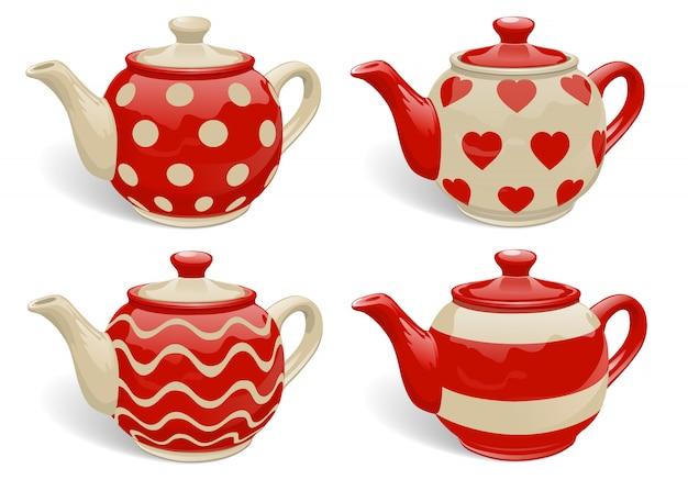 Conjunto de bules de cerâmica realistas.
